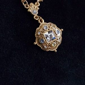 1928 Jewelry Gold-Tone Clear Stone Necklace
